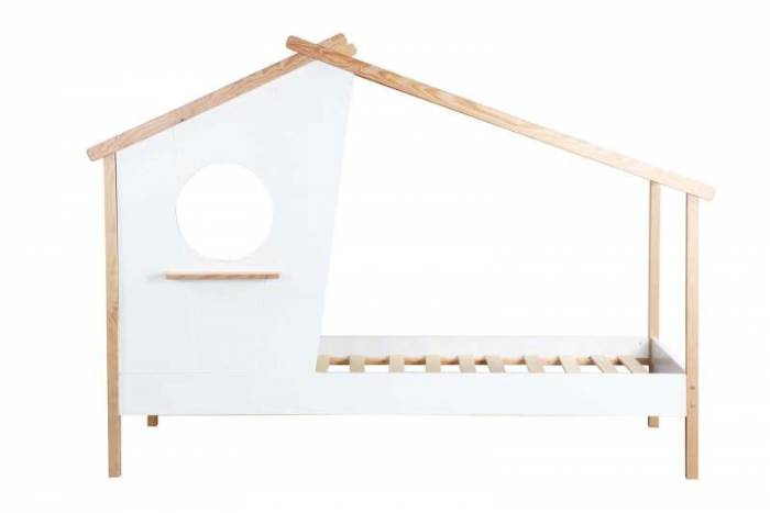 Pat pentru copii în formă de căsuță Meri, 159x220x102 cm, mdf/ lemn, alb/ bej