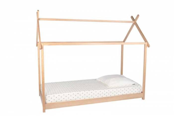 Pat pentru copii în formă de căsuță Venessa, 180x204x117 cm, lemn, alb/ bej