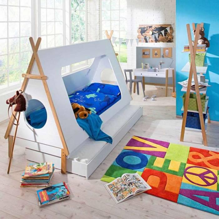 Pat pentru copii in formă de căsută Yolanda, 165x215x105 cm, mdf, alb/ bej