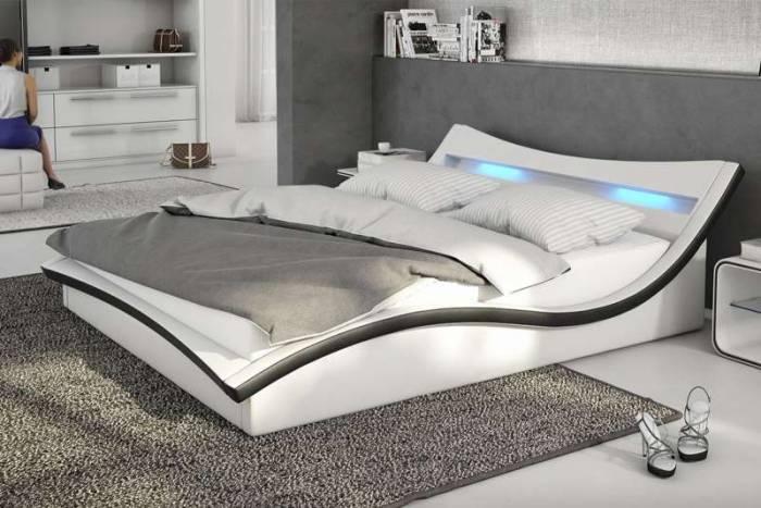 Pat tapițat cu ramă LED Stanis, 140 x 200cm, ecopiele, alb/negru