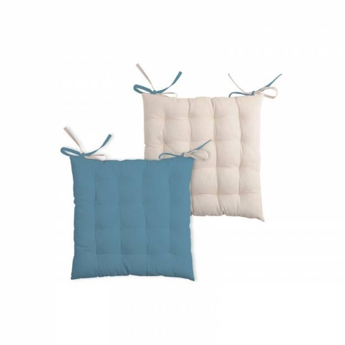 Pernă albastră pentru scaun Duo Galette Azul Lin 40x40 cm
