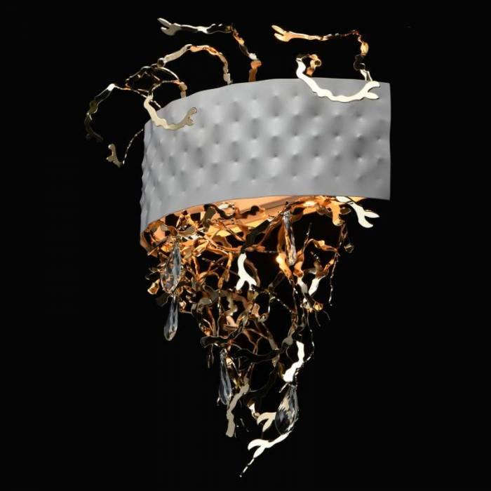 Aplică de perete Jarrett, 14x50x41 cm, metal/ cristal, alb