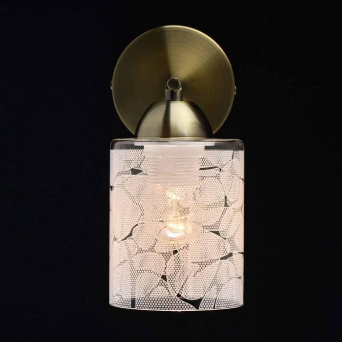 Aplică de perete Lola, 17x10x21 cm, metal/ sticla, alama