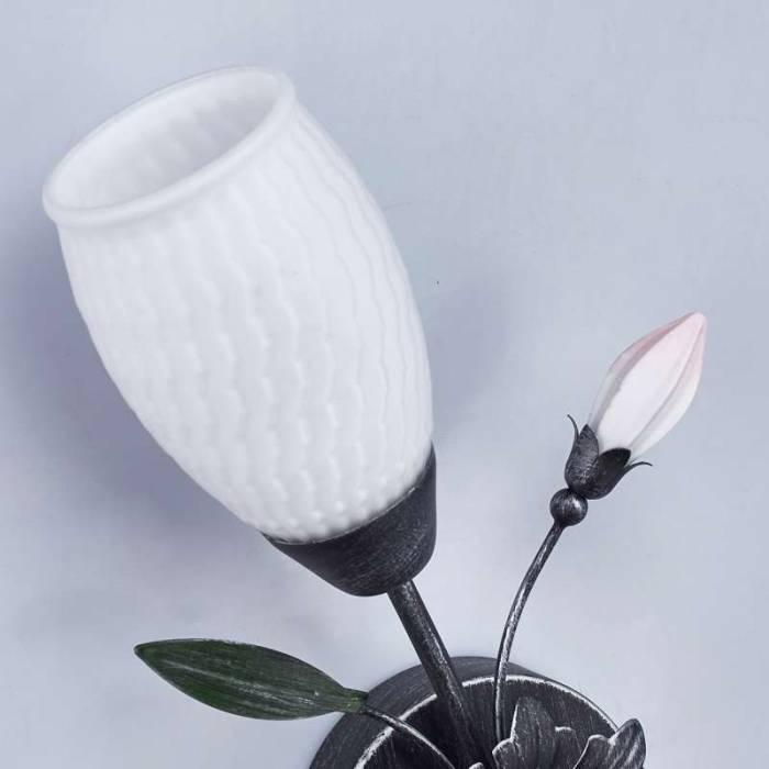Aplică florală Celine, 12x18x32 cm, metal/ sticla, negru