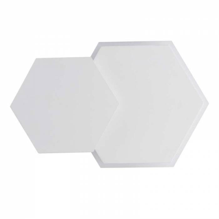Aplică hexagon albă Alyce, 4.3x15x24 cm, metal/ acril, alb