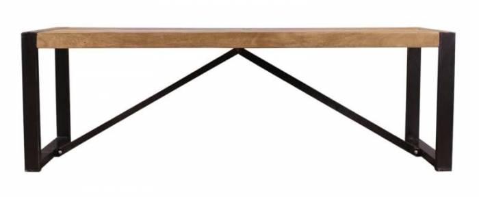 Banchetă Brixton, 45x40x140 cm, acacia/metal, maro/ negru