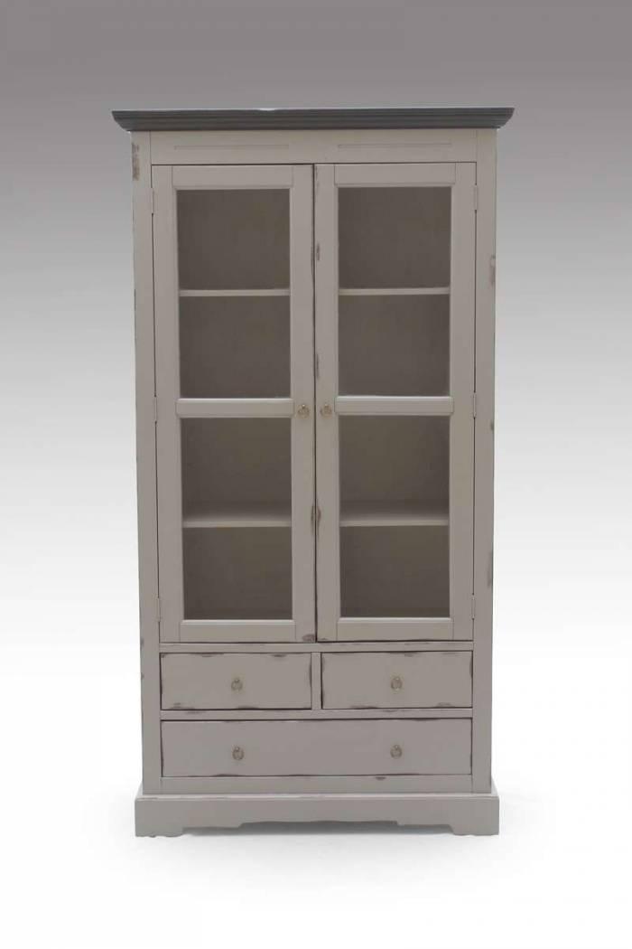 Bibliotecă cu uși Manoir, 183.5x44x98 cm, solid acacia, gri