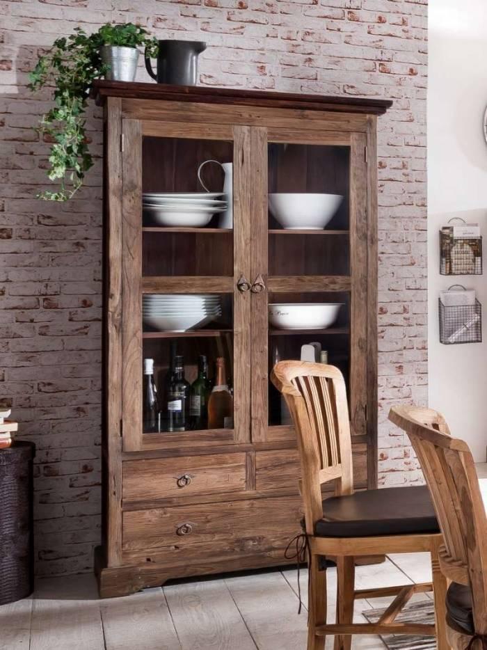 Bibliotecă cu uși Seguin, 183.5x44x98 cm, lemn, maro