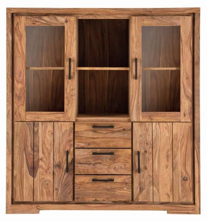 Bibliotecă din lemn masiv Bihar, 150x45x140 cm, sheesham, maroal