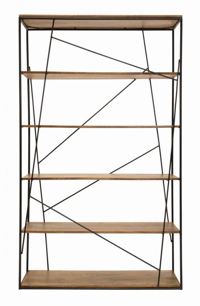 Bibliotecă stil scandinav Tom Tailor, 200x40x120 cm, mango, maro/negru