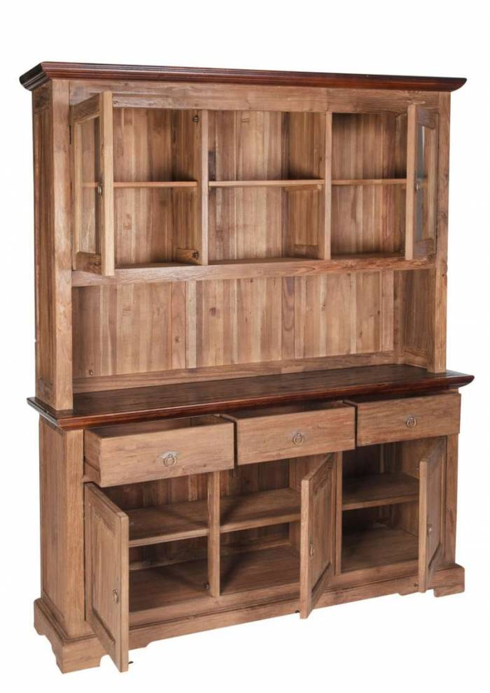 Bufet colonial Seguin, 110x34x148 cm, lemn, maro
