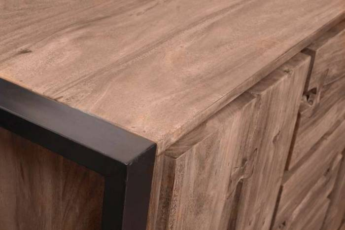 Bufet cu sertare Brixton, 90x40x140 cm, acacia/metal, maro/ negru