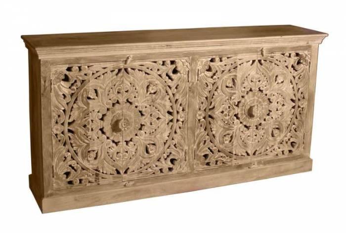 Bufet cu uși sculptate Lakadee, 90x45x180 cm, mango, maro