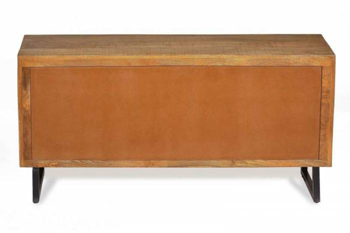 Bufet living Mosaic, 60x35x150 cm, metal/lemn, maro/negru