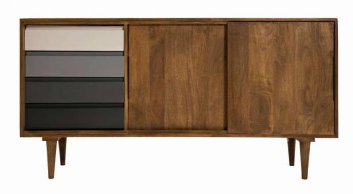 Bufet mid century modern Tom Tailor, 75x44x147 cm, mango, gri/maro