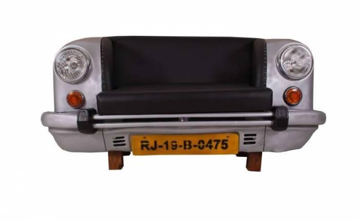Canapea auto Swaraj, 74x73x155 cm, metal/ecopiele, argintiu/negru