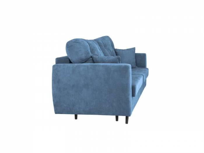 Canapea extensibilă cu spațiu de depozitare Bluzz, 3 locuri, albastru, 231x98x100 cm