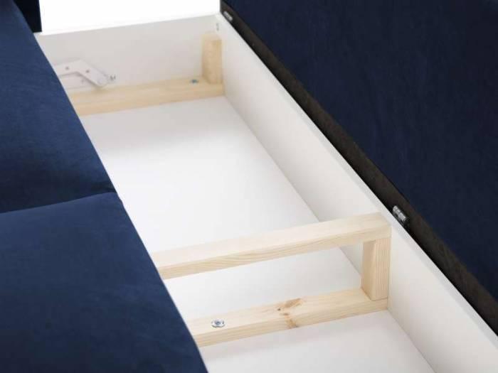 Canapea extensibilă cu spațiu de depozitare Lola, 3 locuri, albastru, 245x95x98 cm