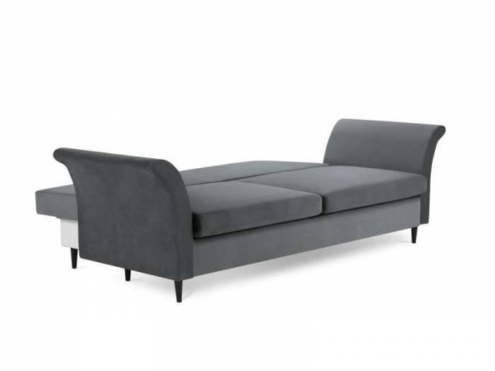 Canapea extensibilă cu spațiu de depozitare Lola, 3 locuri, gri închis, 245x95x98 cm