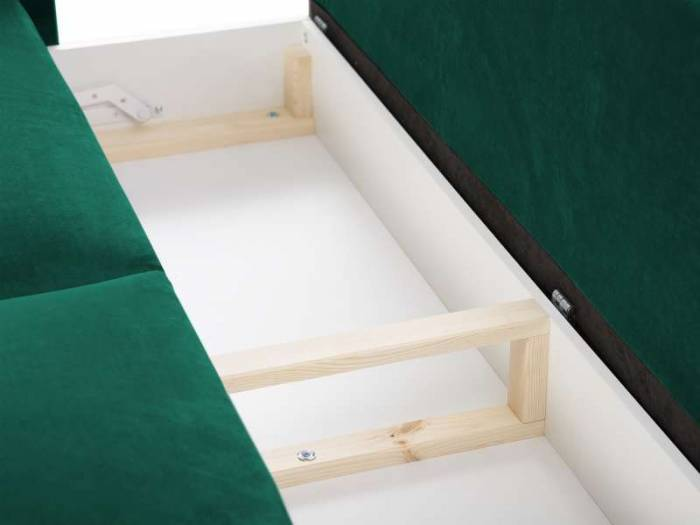 Canapea extensibilă cu spațiu de depozitare Lola, 3 locuri, verde, 245x95x98 cm