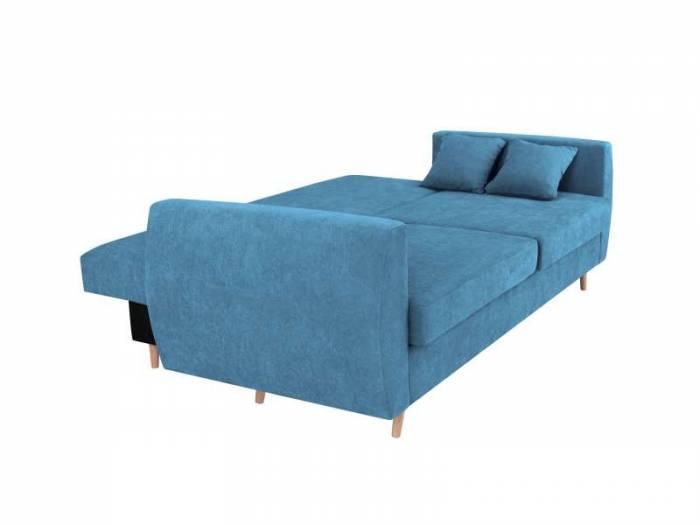 Canapea extensibilă cu spațiu de depozitare Sydney, 3 locuri, albastru, 231x98x95 cm