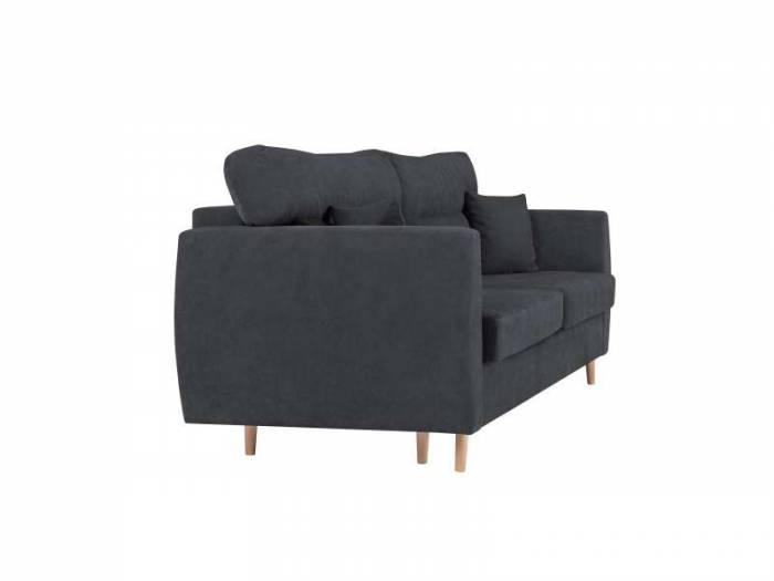 Canapea extensibilă cu spațiu de depozitare Sydney, 3 locuri, gri închis, 231x98x95 cm