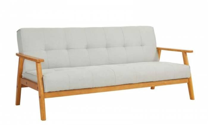 Canapea extensibilă Erin, 81x85x190 cm, lemn/ textil, maro/ gri deschis