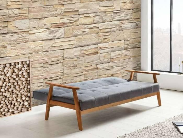 Canapea extensibilă Erin, 81x85x190 cm, textil, maro/ gri închis