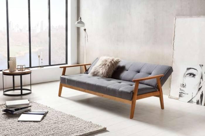 Canapea extensibilă Fergo 190x85x81 cm, textil, gri închis