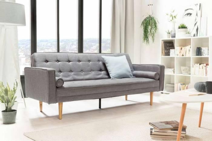 Canapea extensibilă Perris 205x84x86 cm, textil, gri