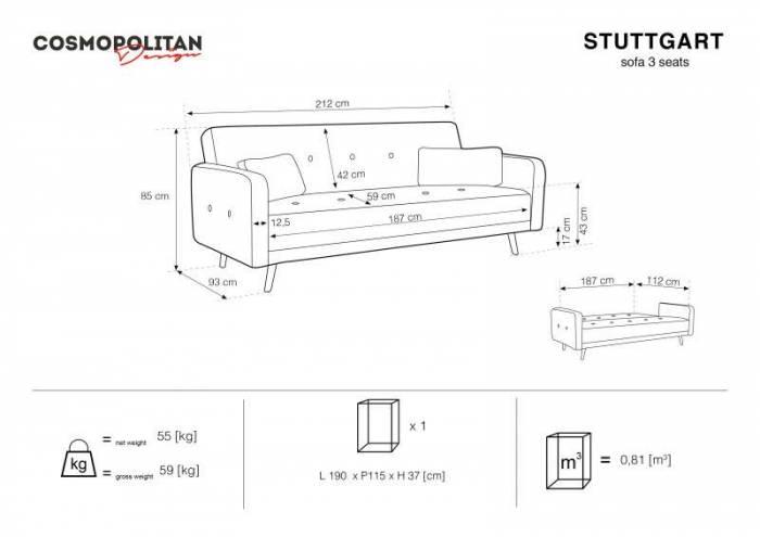 Canapea extensibilă Stuttgart, 3 locuri, gri, 212x93x85 cm