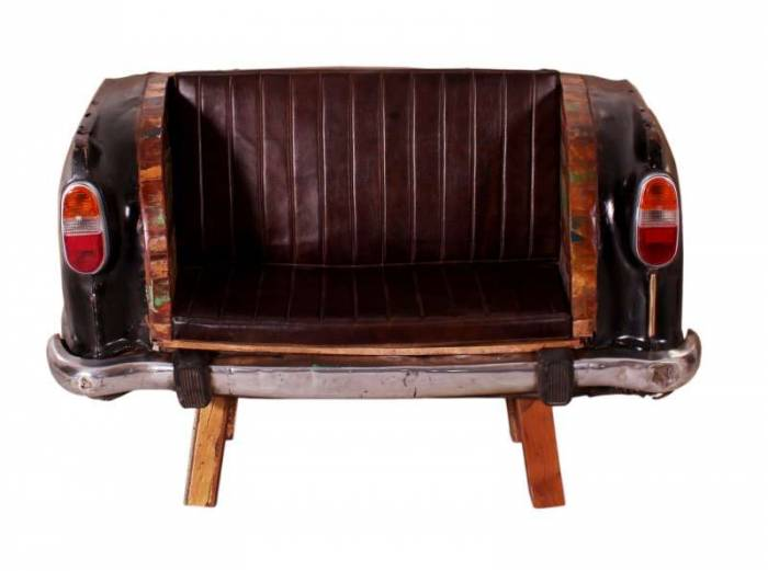 Canapea pentru bar Mumbai, 100x70x172 cm, metal/lemn/ecopiele, maro/negru
