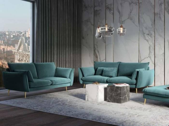Canapea stil scandinav Verona 2 locuri , 97x100x158 cm, catifea/ metal/ lemn de pin/ pal/ placaj, albastru