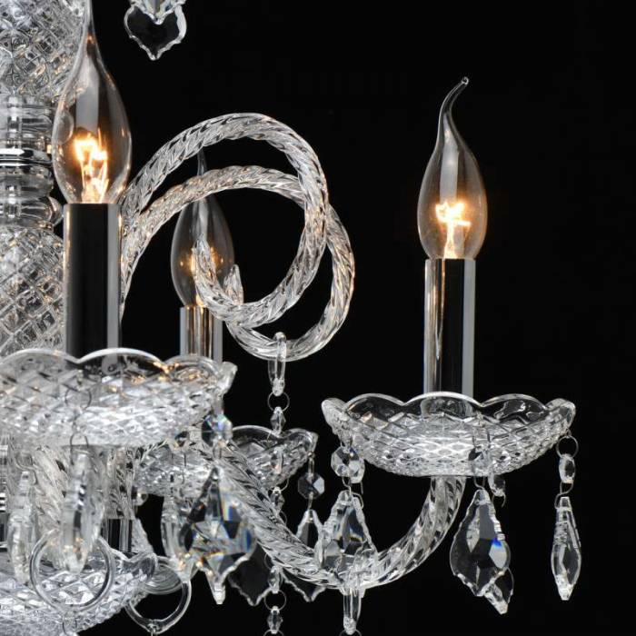 Candelabru argintiu cu cristale Cheyenne, 210x56 cm, metal/ sticla/ cristal, crom