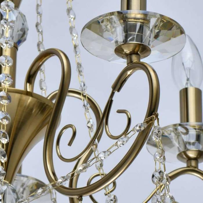 Candelabru auriu cu cristale Columbus, 105x50 cm, metal/ sticla/ cristal, alama