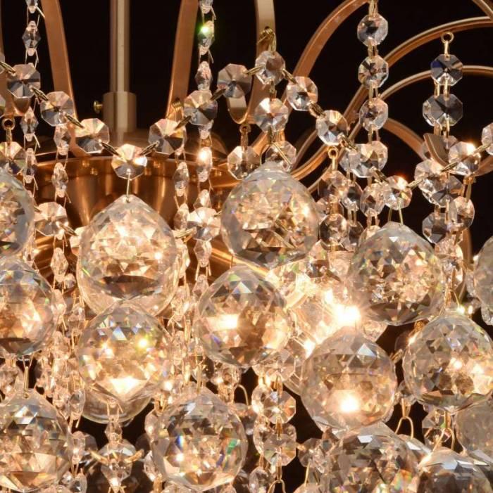 Candelabru auriu mat cu cristale Elisabeta