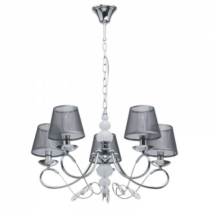 Candelabru cu cinci brațe Salome, 89x66 cm, metal/ sticla, crom