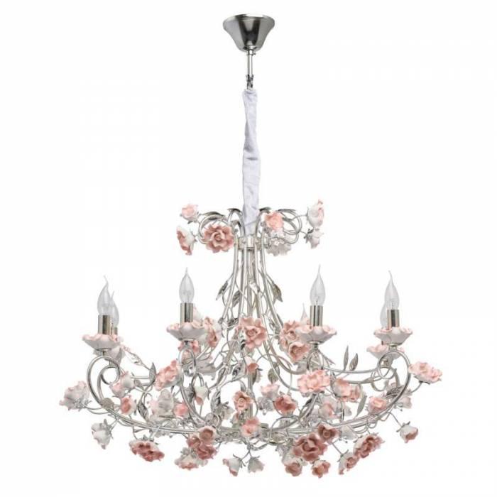 Candelabru cu decor floral Hannelore, 226x83 cm, metal/ ceramica, argintiu