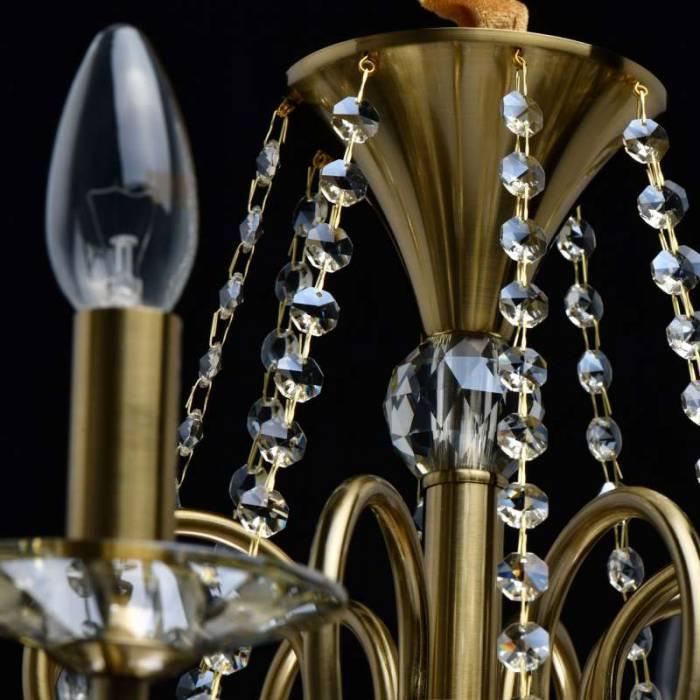 Candelabru cu opt brațe Constance, 115x68 cm, metal/ sticla/ cristal, alama