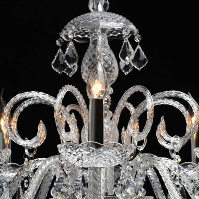 Candelabru cu opt brațe Harriette, 210x74 cm, metal/ sticla/ cristal, crom