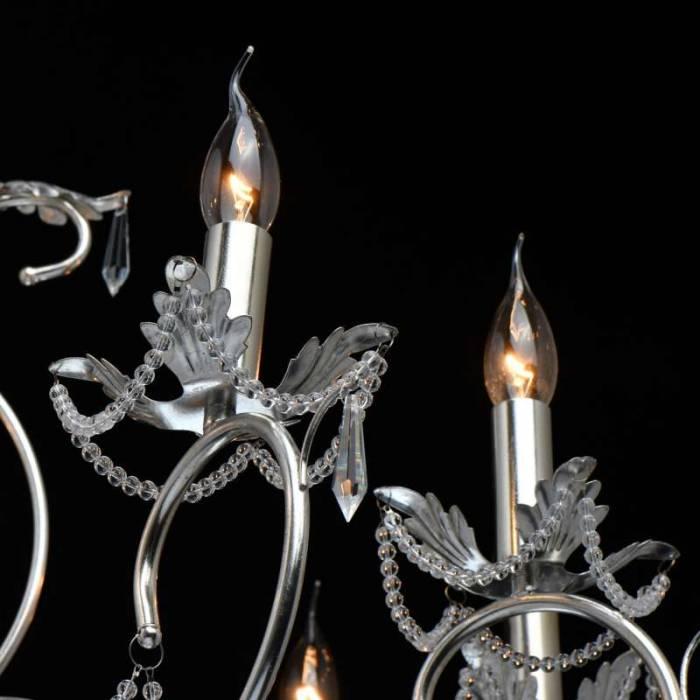 Candelabru cu zece brațe Genoveva, 200x95 cm, metal/ cristal, argintiu
