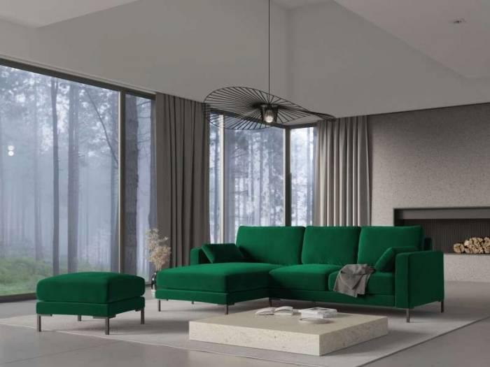 Colțar dreapta catifea Lachelle 4 locuri , 90x160x248 cm, catifea/ metal/ lemn de pin/ pal/ placaj, verde