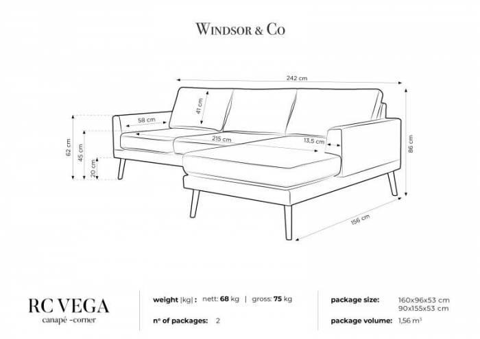 Colțar dreapta Vega, 3 locuri, bej, 242x156x86 cm