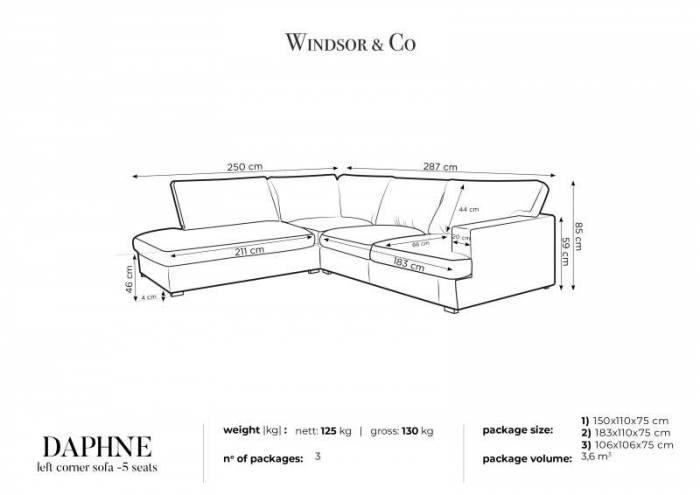 Colțar stânga Daphne, 5 locuri, gri deschis, 287x250x85 cm