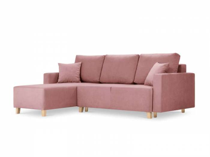 Colțar stânga extensibil cu spațiu de depozitare Theola 3 locuri , 80x172x245 cm, stofa/ lemn de pin/ pal/ placaj, roz