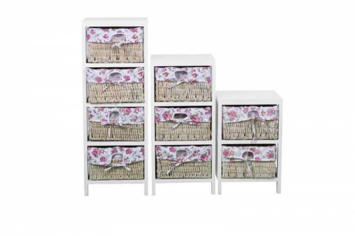 Comodă cu 3 sertare Ophelia, 63x27x30 cm, lemn/mdf, alb/roz/bej