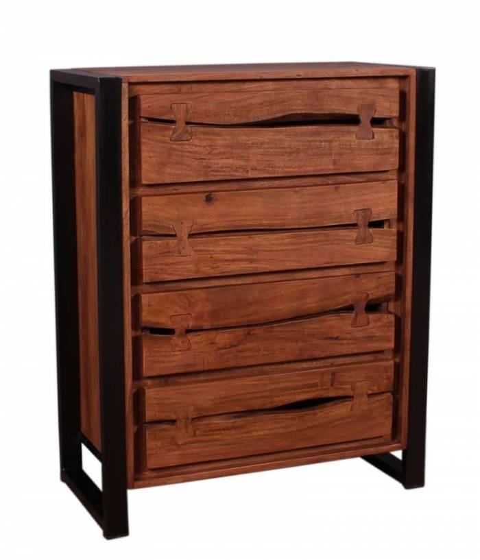Comodă cu 4 sertare Brixton, 100x40x80 cm, acacia/metal, maro/ negru