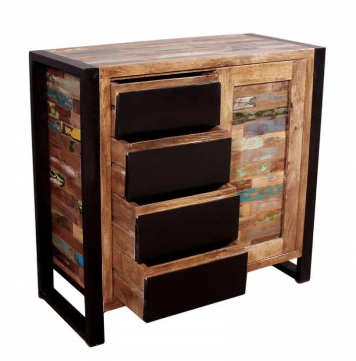 Comodă cu 4 sertare Durban, 85x40x90 cm, lemn/metal, maro/multicolor