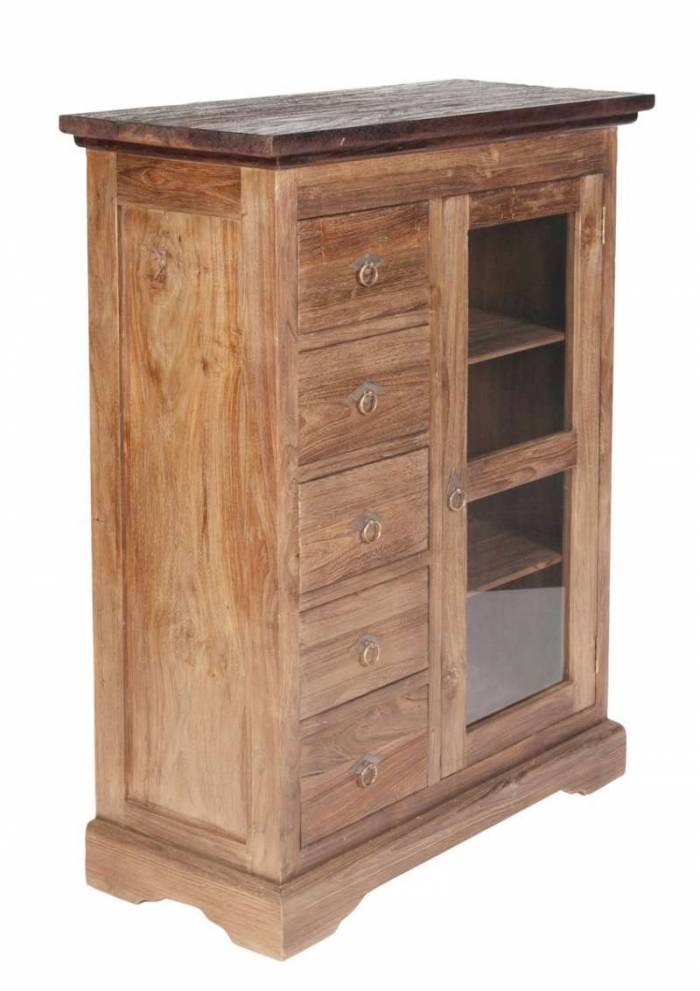 Comodă cu 5 sertare Seguin, 122x39x86 cm, lemn, maro