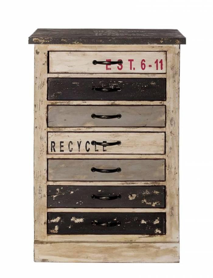 Comodă cu 7 sertare Librarium, 90x38x60 cm, lemn, multicolor